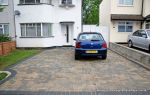 New driveway installed using Marshall's Driveline 50 paving in the pewter colour with contrasting charcoal border