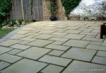Patio constructed using Marshalls Saxon paving