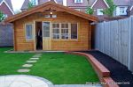 Garden was on a new development new Saxon paving with circle feature installed new lawn, stepping stones and low planter wall summer house with hot tub and lighting installed