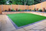 Artificial lawn stays green all year round and there's no mowing